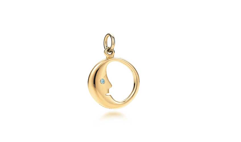 Man in the Moon charm in 18k gold with round brilliant diamonds, TIFFANY & CO.