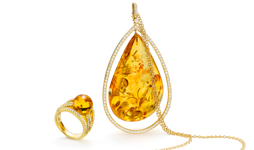 Pendant  and ring with diamonds and amber, HOUSE OF AMBER