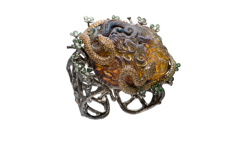 Bracelet with brown diamonds, amber, fancy sapphires, and tsavorites, LYDIA COURTEILLE