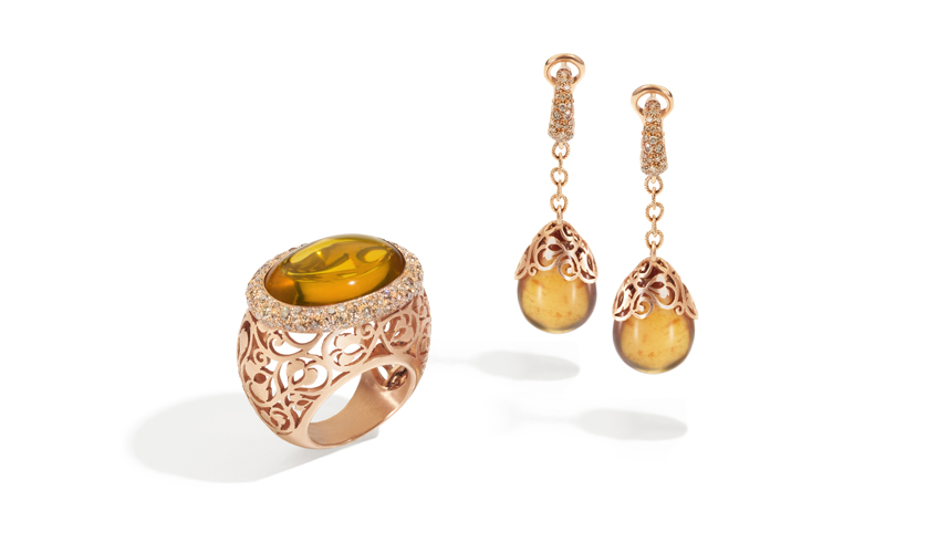 Arabesque ring and earrings with amber and brown diamonds, POMMELATO