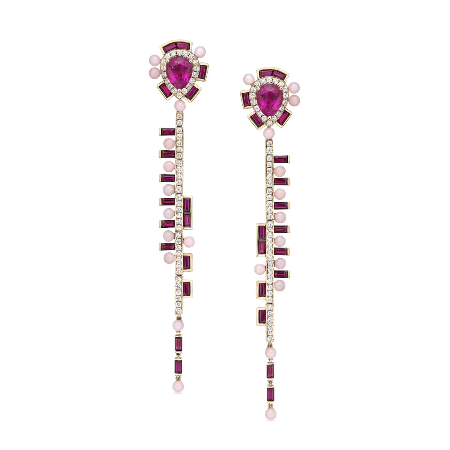 Wisteria-Red-Long-Earrings-18ct-rose-gold-white-diamonds-Rubelite-Ruby-and-Red-opal-Sarah-Ho