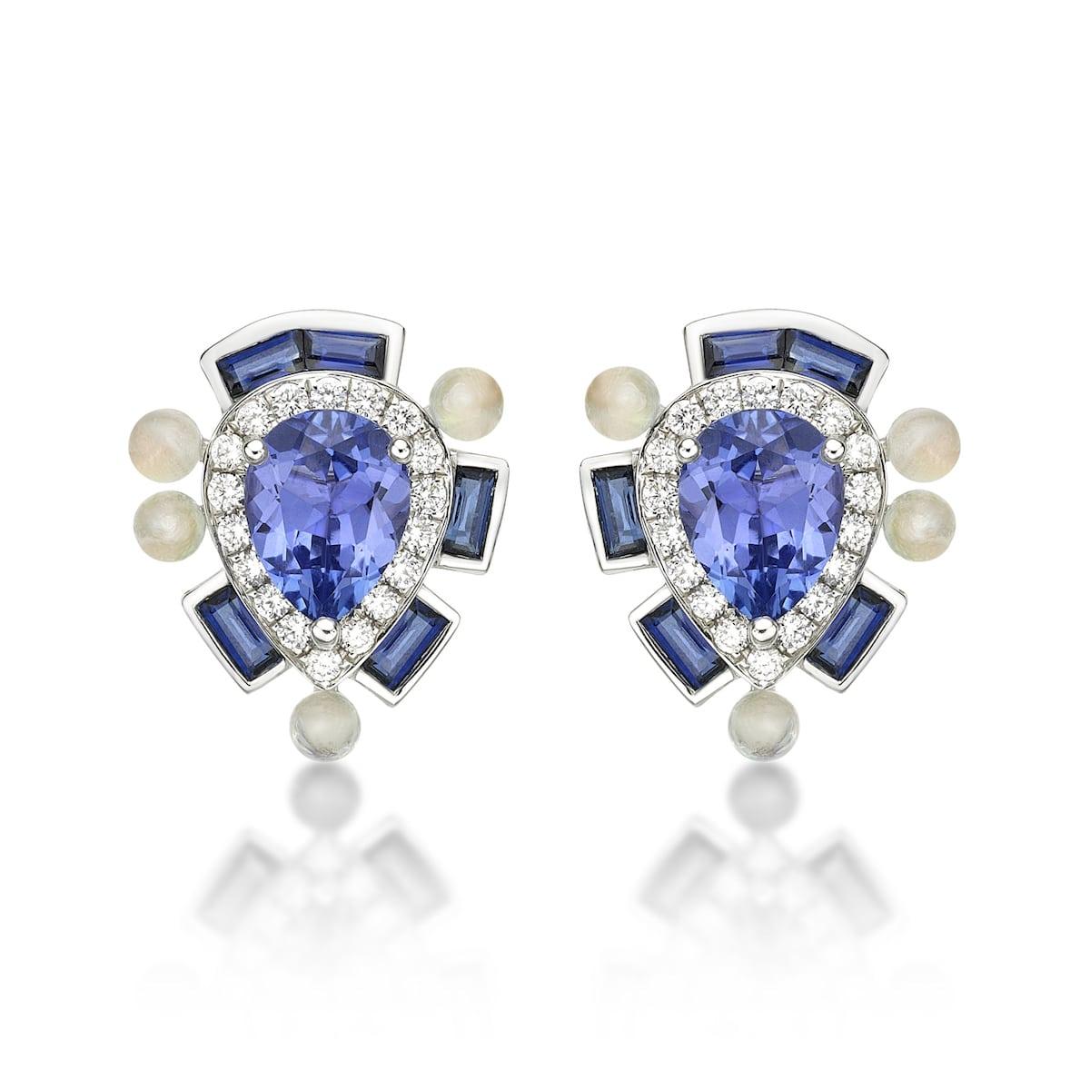 Wisteria-Blue-Studs-18ct-white-gold-white-diamonds-Rainbow-moonstone-Blue-sapphire-and-Tanzanite-Sarah-Ho