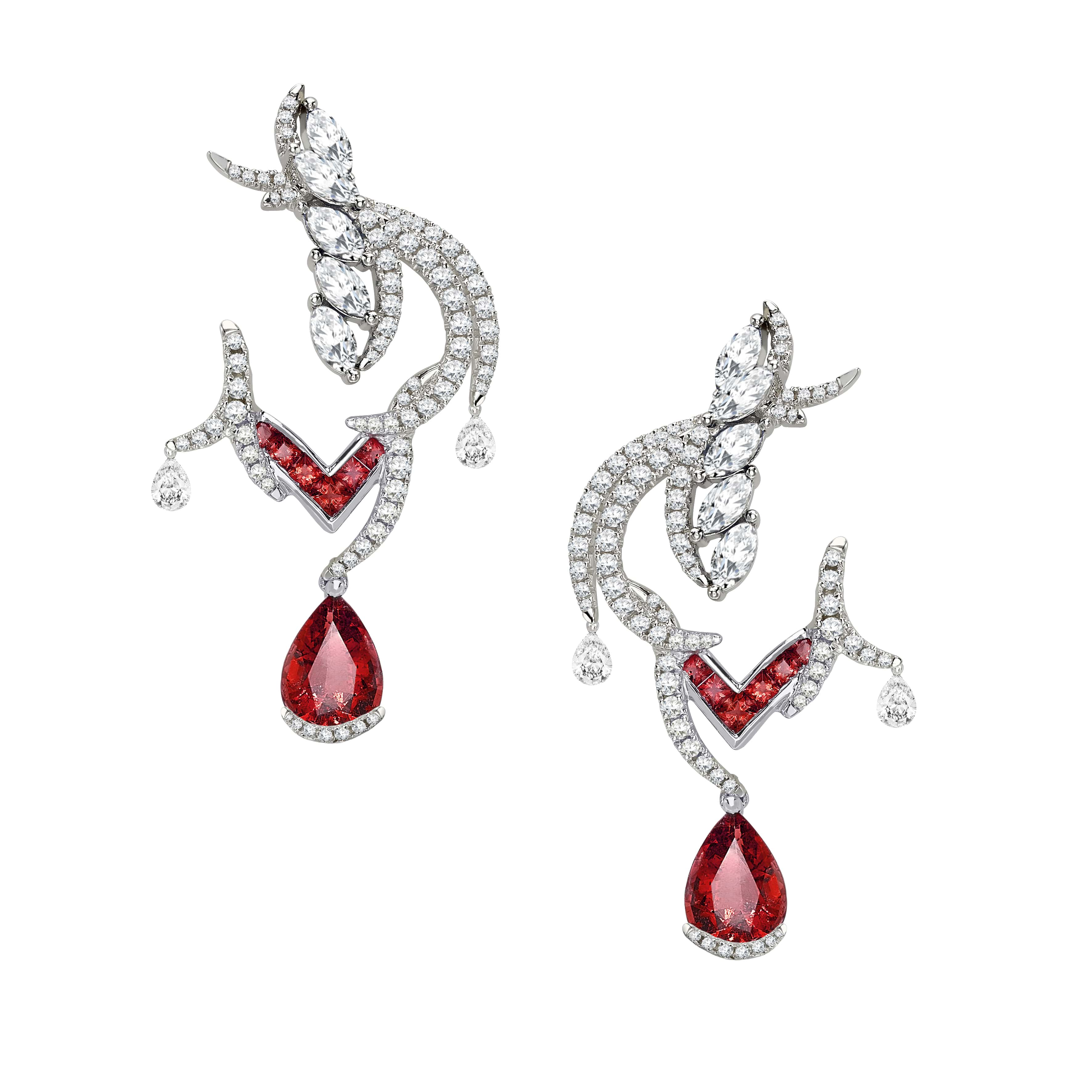 Imperial-Crest-Earrings-Ruby-with-Dimond-caps-Sarah-Ho