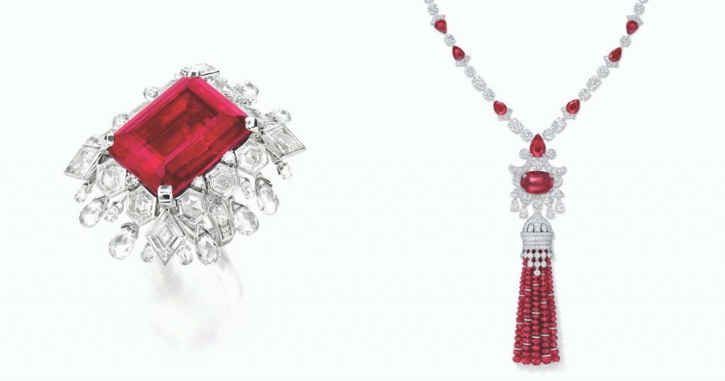 ANNA-HU-Lace-Ring-in-Rubellite-GRAFF-ruby-and-diamond-tassel-necklace-total-rubies-278.55-carats-total-diamonds-58.49-carats
