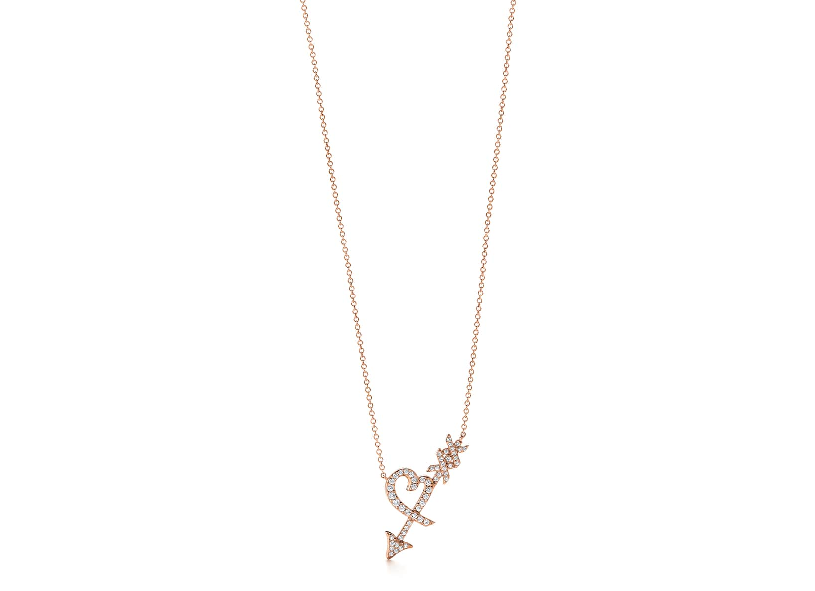 Paloma-Picasso®-Graffiti-Heart-and-Arrow-pendant-diamonds-in-18k-rose-gold