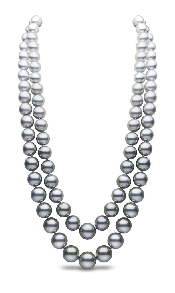 Two-row-pearl-necklace-with-graduating-colours-by-Yoko-London