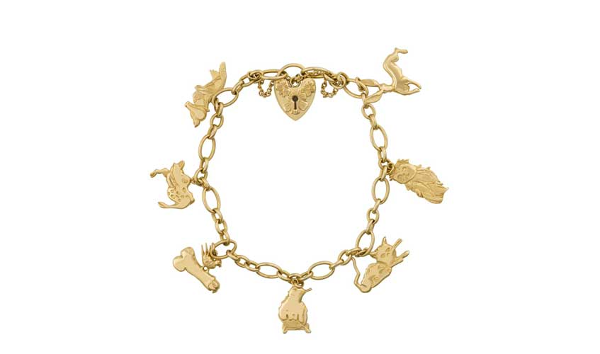 Animals Charm Bracelet with heart lock clasp in 18k yellow gold, STEPHEN WEBSTER