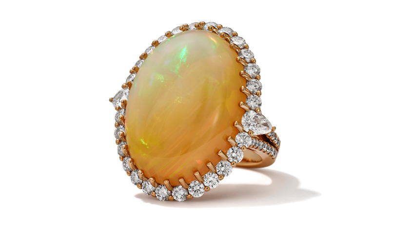Glam ring featuring opal on 18k rose gold, HANS D, KRIEGER