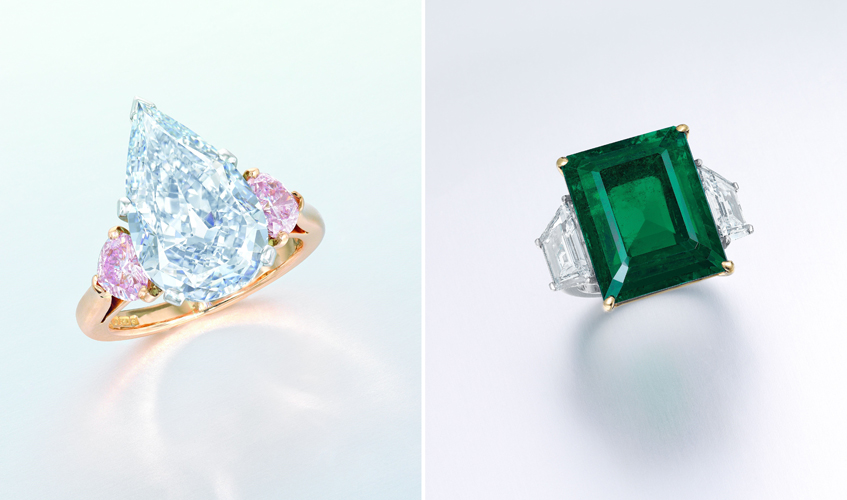 From L to R: A 5.19ct pear-shaped Fancy Blue/IF diamond ring, by CARTIER; A 18.69ct rectangular-shaped Colombian no oil emerald ring, by HARRY WINSTON