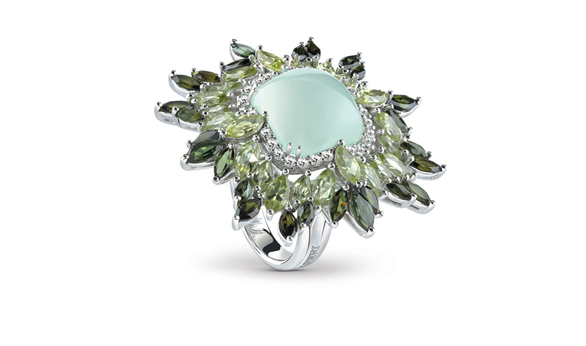Ring with green chalcedony, tourmaline, peridots and diamonds from Vivaldi collection, DAMIANI