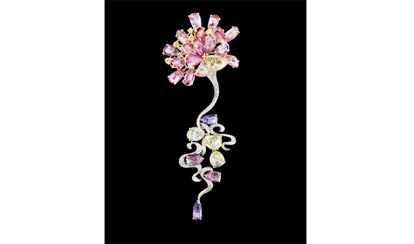 Monet's Lily Reflection pendant-brooch with rose-cute sapphires, green garnets, white and coloured diamonds on 18k white and yellow gold