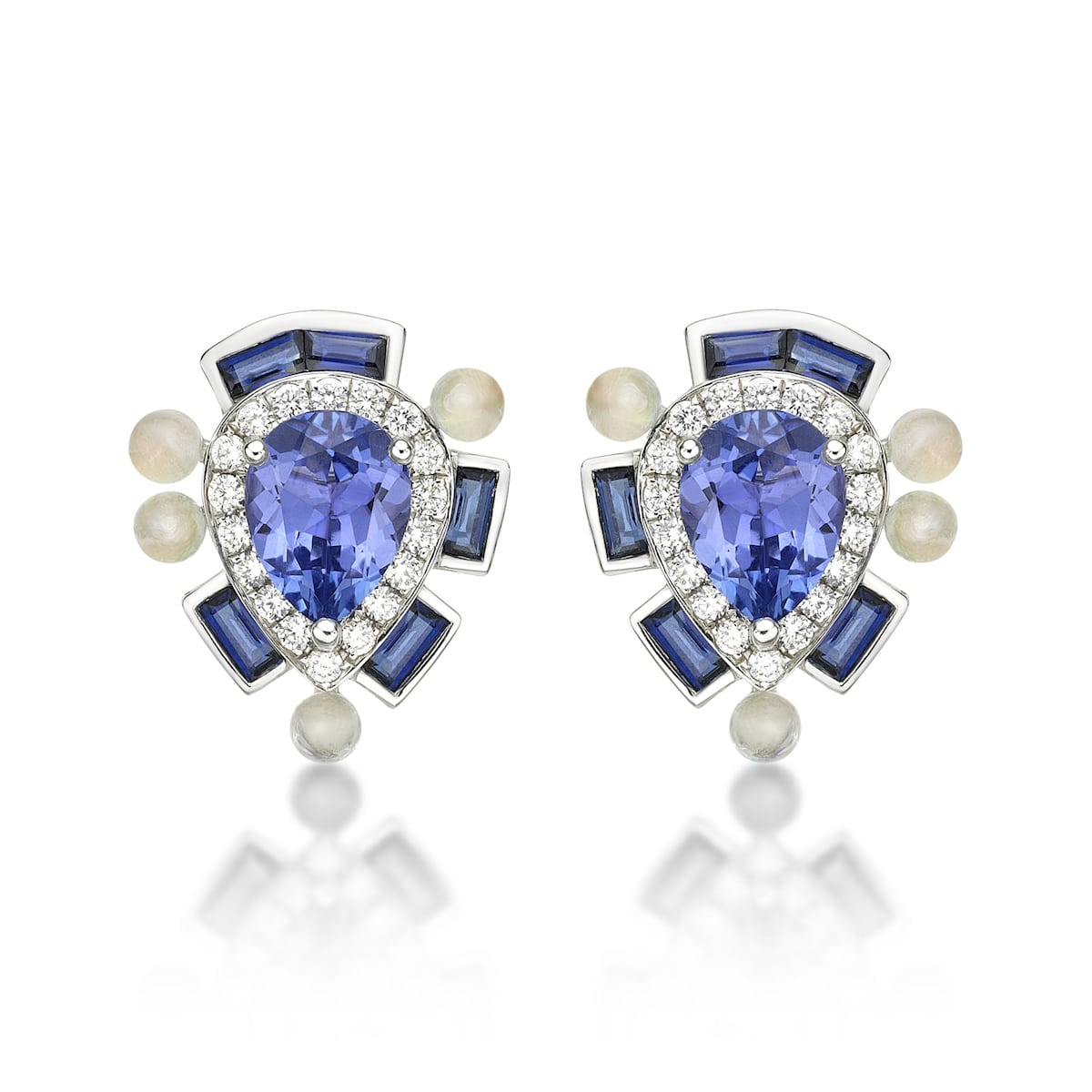Wisteria-Blue-Studs-18ct-white-gold-white-diamonds-Rainbow-moonstone-Blue-sapphire-and-Tanzanite-Sarah-Ho