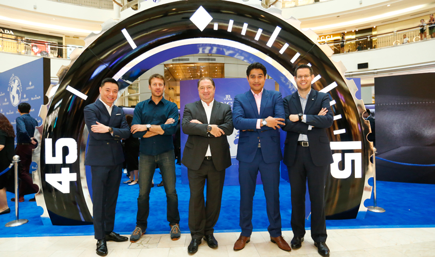 From left to right – Mr Tay Liam Khoon, Managing Director of Cortina Watch Malaysia, Mr Laurent Ballesta marine scientist Blancpain Friends, Mr Alain Delamuraz Vice President and Head of Marketing, Blancpain, Mr Imran Ahmad, underwater photographer, Mr Dimitri Aubert, Area Sales Manager of Blancpain