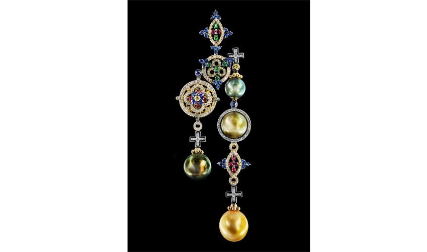 Cathedral pendant features 13mm Tahitiian pearls, sapphires, rubies, green garnets, yellow and white diamonds on 18k white gold