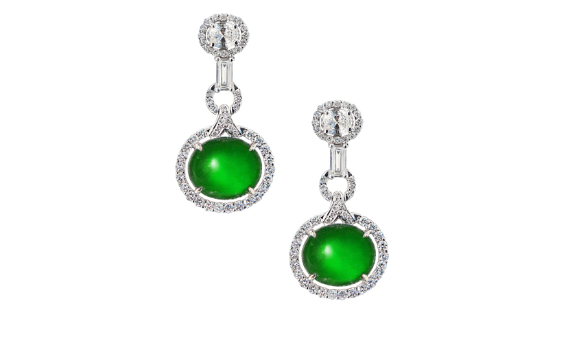 Earrings with matching jade pieces, white diamonds on 18k white gold