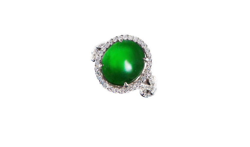 Matching jade ring with white diamonds on 18k white gold