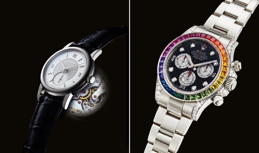 From L to R: An 18k white gold wristwatch, Simplicity model, Circa 2003 (first example to be offered at auction), PHILIPPE DUFOUR; An 18k white gold and diamond-set automatic chronograph wristwatch with bracelet and rainbow-coloured multi-gem bezel, Cosmograph Daytona, Ref. 116599RBOW, Circa 2012, ROLEX