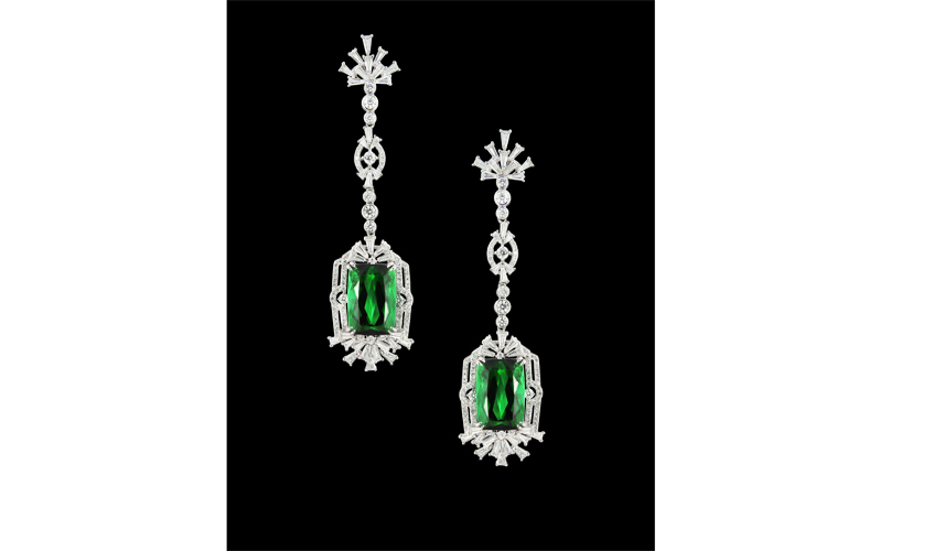 Earrings with 22.74ct tourmalines, with white diamonds on 18k white gold